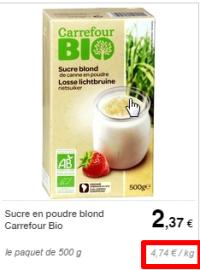 sucre bio carrefour emballé
